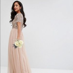 ASOS Maya V Neck Maxi Tulle Dress with Sequins